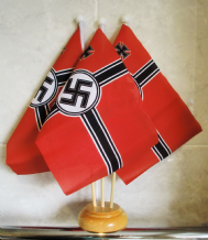 WWII NAZI - 3 X TABLE FLAG WITH WOODEN BASE